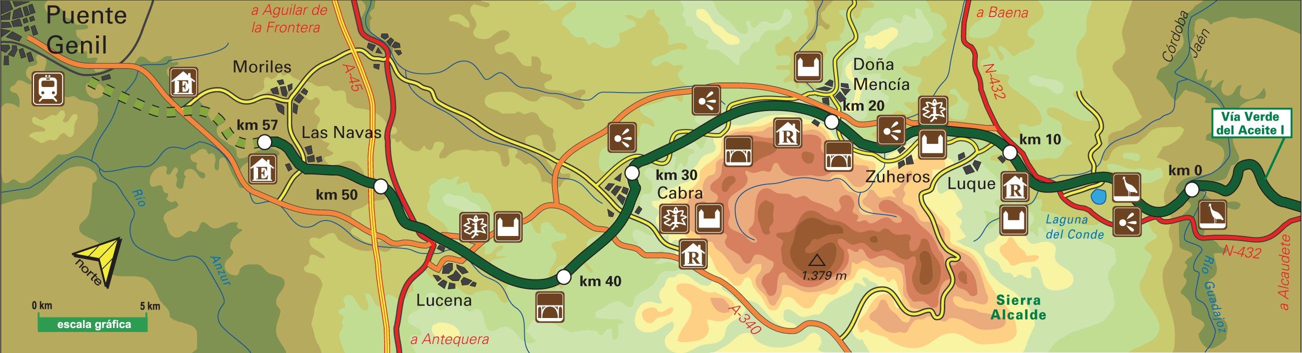 Vía Verde de la Subbética Mapa con estaciones