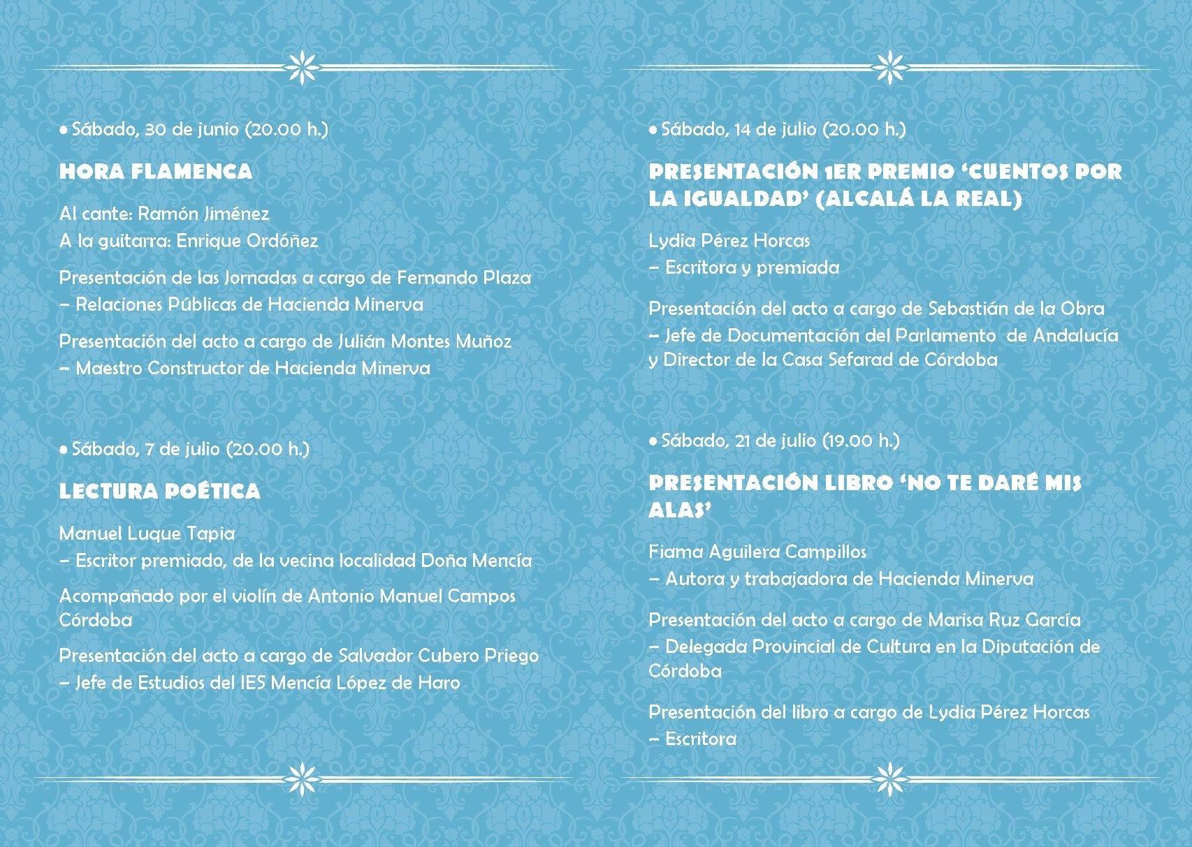 Programa del décimo aniversario de Hacienda Minerva